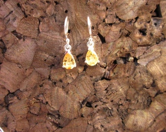 Sterling Silver with Tear Drop Citrine Earring - #17