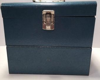 Vintage Excelsior blue metal file box with drop front