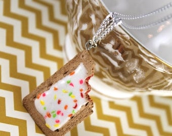 Strawberry Frosted Poptart Necklace with Bite