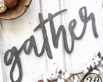 gather | 2ft Metal Cut Out Word | All Metal Sign