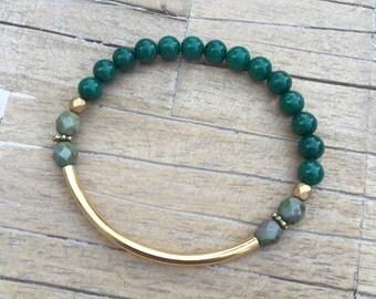 Green Jade Curve Bracelet