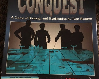 80s Global Conquest vintage old school computer video game commodore 64 ibm hard drive windows pc cd-rom classic cool strategy strategic htf