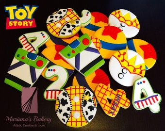 Toy Story decorated sugar cookie favor Toy Story cookies Toy Story Favors ( 3 dozen)