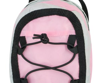 """Light Pink & Gray Sporty Nylon Backpack Bag Compatible with American Girl 18"""" Dolls"""