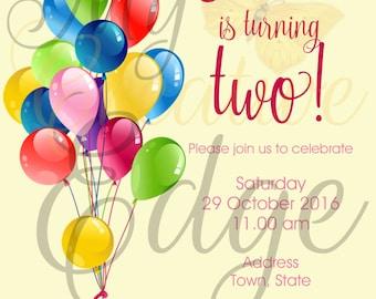 Digital Invitation - Balloons
