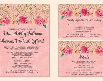 Floral wedding invitation, glitter floral wedding invitation, coral and gold wedding, wedding invitation suite, wedding invitation printable