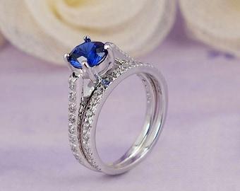 1.7CT 925 Sterling Silver Round Lab Created Blue Sapphire Bridal 2 pcs Wedding Ring Set- sv2172