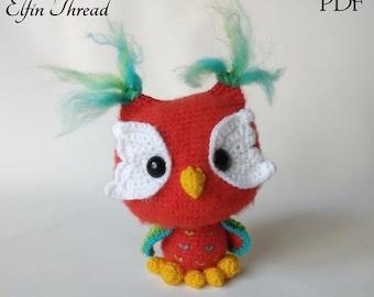 Elfin Thread- Ottis The Owl Amigurumi PDF Pattern (Crochet Colorful Owl Pattern)