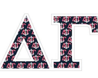 "Delta Gamma Mascot Greek Letter Sticker - 2.5"""