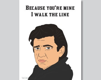 Johnny Cash - Walk the Line Inspired Greeting Card