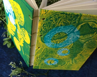 Unique blank Journal, handbound, printed covers 2016 GREEN AND YELLOW