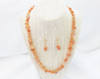 Coral Agate Stone Necklace (N27)