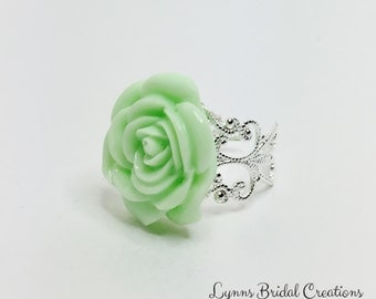 Mint Green Ring Mint Rose Ring Resin Flower Jewellery Mint Bridesmaid Gift Flower Girl Ring Green Anytime Ring Pretty Green Wedding Gift