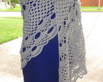 Crochet Shawl: Chippzan's Shawl in Gray