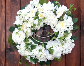 Door, Wreath, Elegant, Special Occasion, White, Grapevine, Pearls, Wedding, Wall