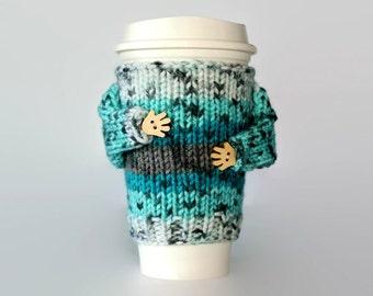 Cup sleeve. Coffee cozy. Travel mug sleeve. Coffee warmer. Tea warmer. Turquoise gray teal. Mug warmer. Cup sleeve. Coworker gift. Gift idea