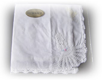 Vintage Seward cotton handkerchief with crochet Crinoline lady