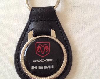 Dodge Hemi Keychain Genuine Leather Key Chain