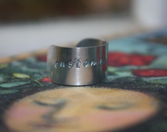 Personalized Jewelry, Custom Ring Band - Hand-Stamped Metal, Patina or Black Letter Finish, Polished Band, Gifts for Him or Her