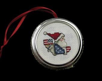 Cross Stitch Patriotic Santa Ornament