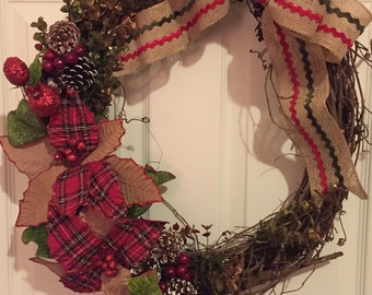 Wreath, Christmas , Grapevine Wreath, Holiday Wreath, Holiday Decorations, Holiday Gift