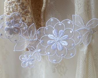 Lace Applique, Bridal Applique, white tulle Lace Applique, bridal headpiece applique, wedding applique, Bridal hair flowers 2pcs LA1001