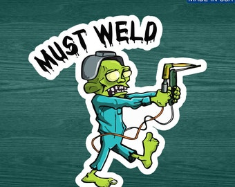 Must Weld Zombie Vinyl Decal Welding Helmet Sticker