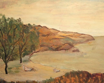 Vintage Oil Painting Seascape Landscape