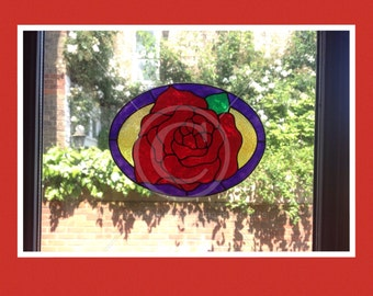 Rose oval window cling, hand painted for glass & window areas, reusable faux stained glass effect decal, static cling suncatcher decals