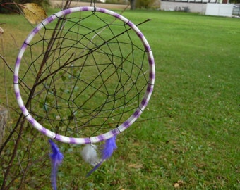8in Dreamcatcher with pentacle center and hanging feathers