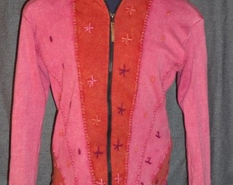 KYBER OUTERWEAR XL Nepalese handmade and embroidered zippered hoodie cardigan made in Nepal of pinkish cotton size extra large