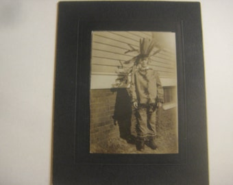 Boy in Native American Indian Costume, Halloween, 1920s