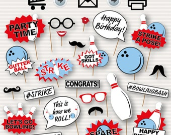 Bowling Party Printable Photo Booth Props - Bowling Birthday Party - Bowling Printable Photo Booth Props - Bowling Birthday Instant Download