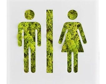 wedding decor moss art, natural moss wall decor, moss him and her, mr and mrs. wedding, reindeer moss, green moss, wall decor, wall sign