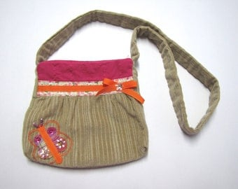 Corduroy bag with butterfly