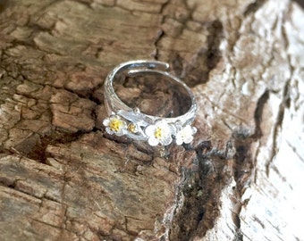 Intricate floral Japanese Cherry Blossom flower branch inspired sterling silver wrap around ring