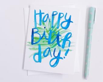 Tropical, Birthday Card, Greeting Card, Palm Leaves, Blue, Green, Card, Hawaiian Birthday Card, Tropical Birthday Card, Blank Inside