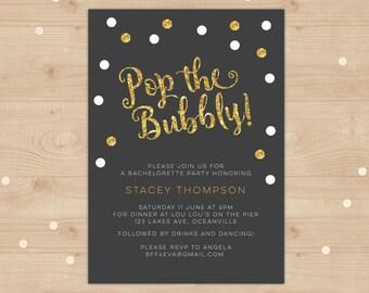 Gold glitter Bachelorette party or hens night invitation digital file // I customise for you to print // modern, glitter and glitz design