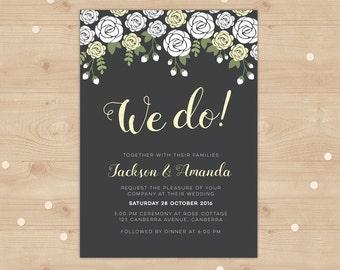 We Do! Wedding Invitation // Digital file, I customise for you to print // Vintage and classic wedding invitation design