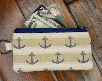 Nautical Coin Purse,  Credit Card Holder, Key Chain Wallet, Nautical Card holder, Coin Wallet