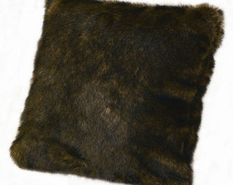 "Whiskey Fox Mink Faux Fur Pillow 18""x18"" With Poly Fill Insert By Silk and Sable"