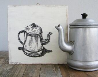 Antique art, Wood wall sign, Teapot illustration, Rustic wood signs, Kitchen decor, Hostess gift, Kitchen Wall Art, Housewarming Gift
