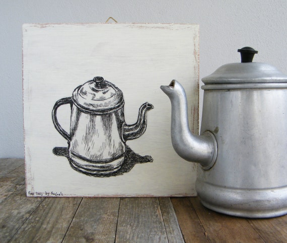Antique Signs Wall Decor : Antique art wood wall sign teapot illustration rustic