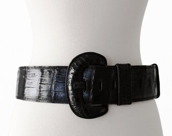 1970s EZIA Vintage Crocodile Genuine Leather Waist Belt (Size 28-35 in)