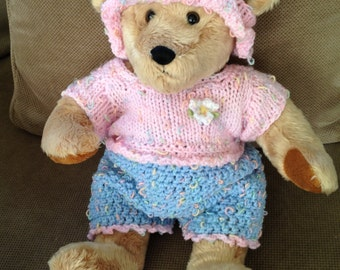 14 inch bear in pink sweater, bib overalls & hat