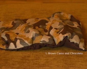 Microwave Heating Pad w/Flannel Sleeve, Brown Camo and Chocolate