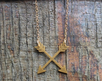 24K Gold Crossed Arrows Necklace