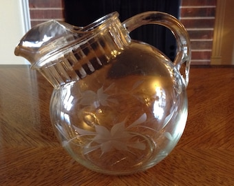 Vintage Etched Glass Juice Ball Pitcher Tilted Style