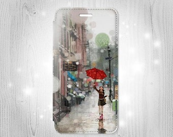Girl in The Rain Rainy Day Leather Flip Case For iPhone 7 7 Plus 6S 6 6+ SE 5 Samsung Galaxy S7 Edge S6 Edge Plus S5 Note 5 4