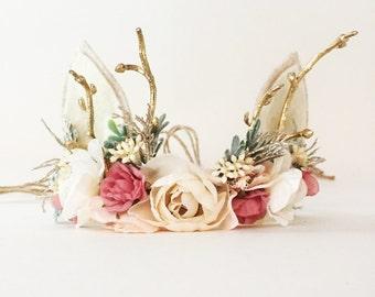 Woodland Deer Flower Crown with Antlers, Christmas Photo Prop, Tieback Headband, Baby Flower Crown, Newborn Headband, Girls Flower Crown